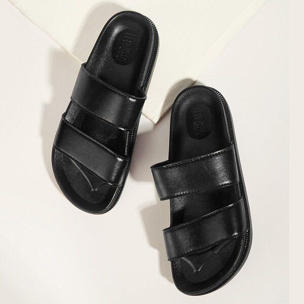 Men Double Strap Open Toe Slippers