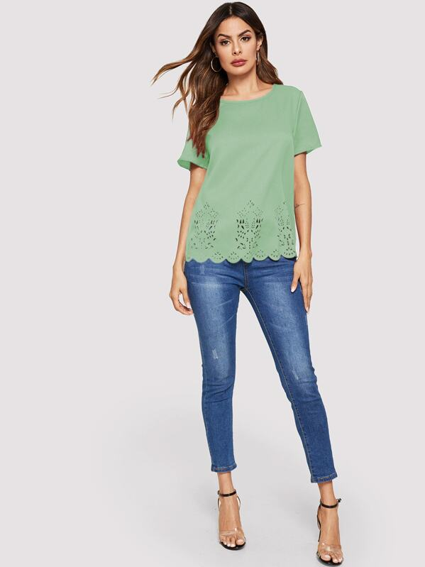 Solid Laser Cut Scallop Hem Top