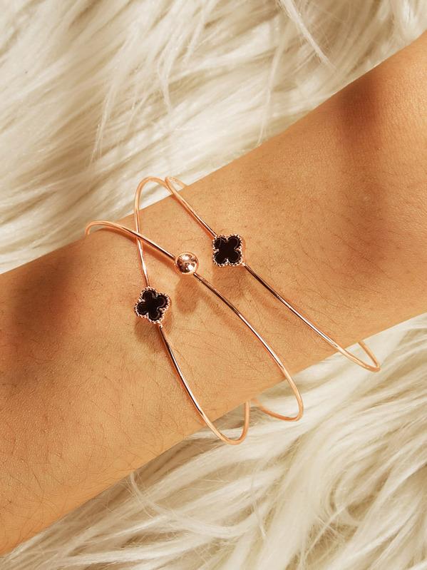 Clover Decor Cuff Bracelet Set 3pcs