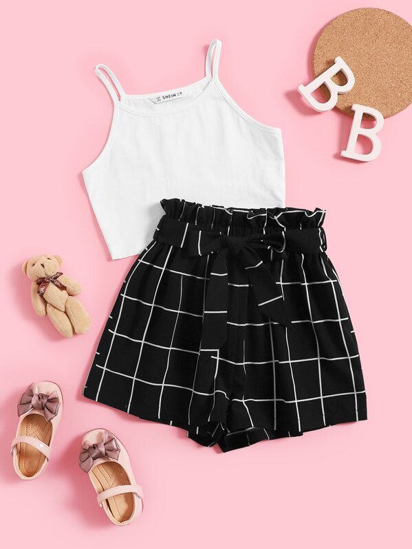 Girls Cami Top and Paperbag Waist Grid Shorts Set