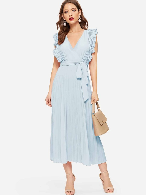Surplice Neck Ruffle Armhole Pleated Belted Dress, Debi Cruz