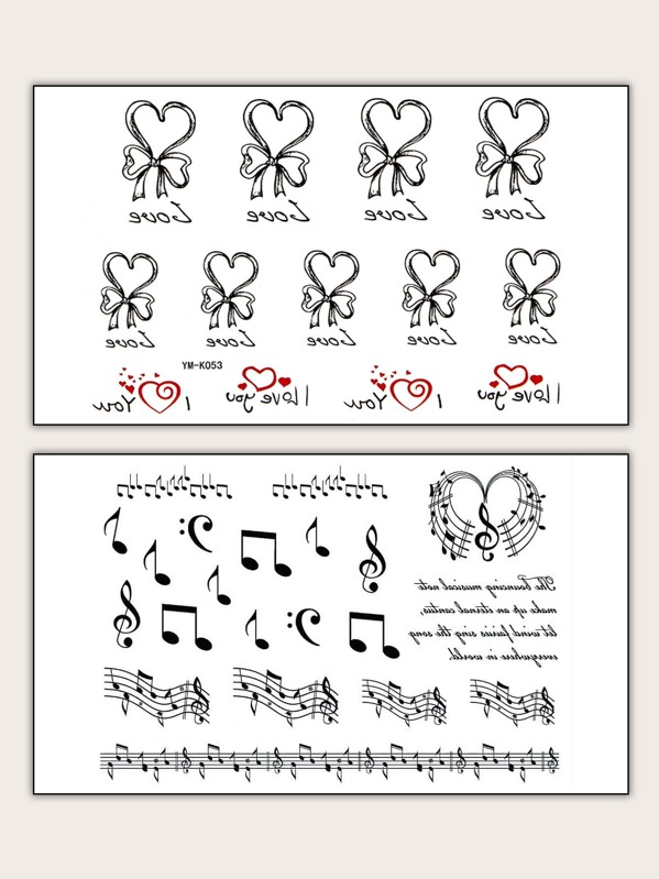 Musical Note & Heart Shaped Tattoo Sticker 2pack