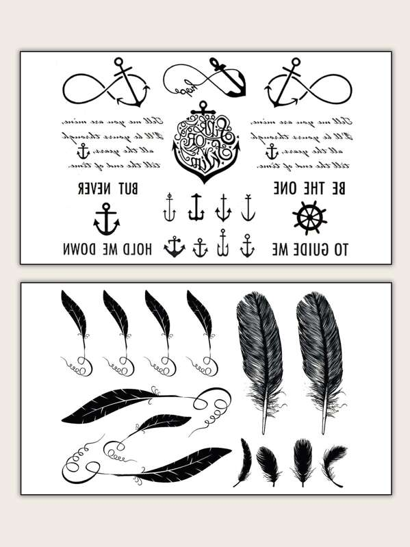 Feather & Anchor Shaped Tattoo Sticker 2pack