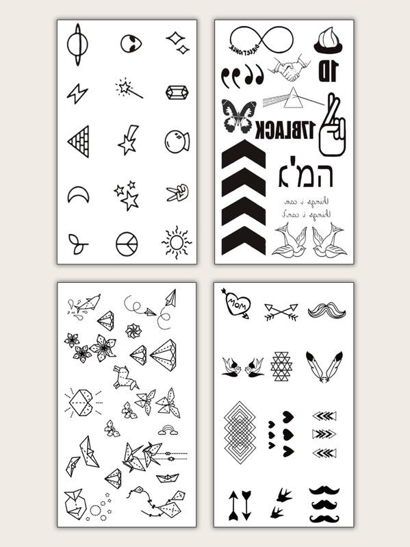 Mix Pattern Tattoo Sticker 4sheets