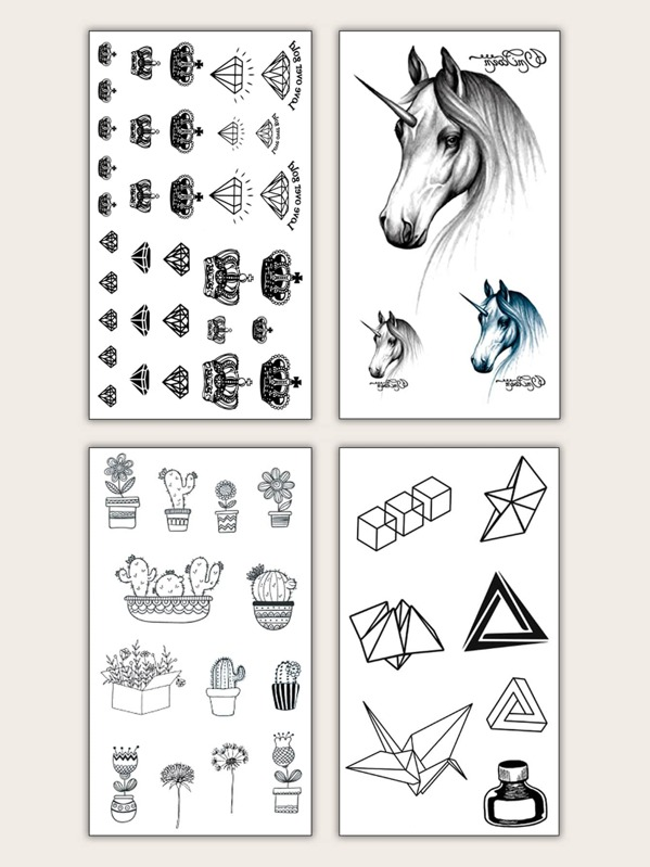 Mix Pattern Tattoo Sticker 4 Sheets