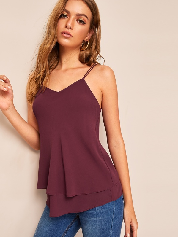 Solid Layered Hem Ring Detail Strappy Top, Luiza