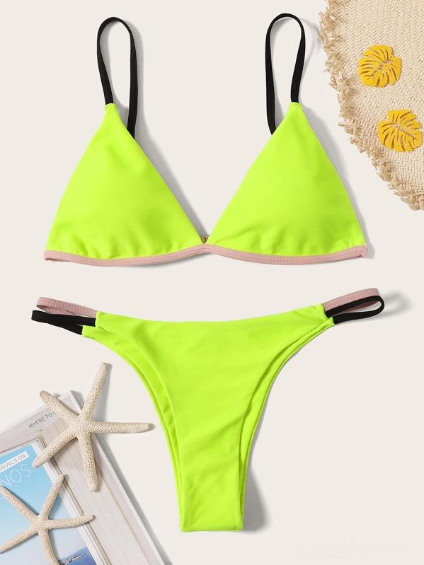 Neon Yellow Contrast Piping Top With Tanga Bikini