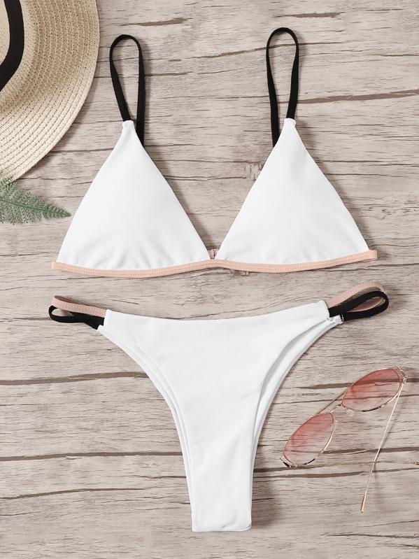Contrast Piping Triangle Top With Tanga Bikini