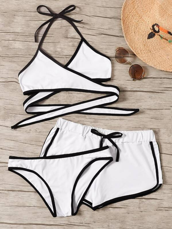 Contrast Piping Wrap Halter Bikini Set With Shorts 3pack, White