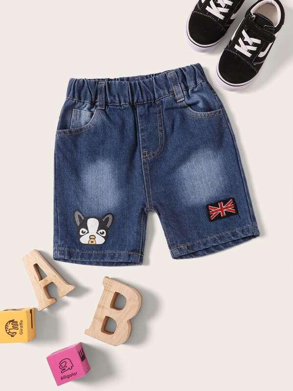 Toddler Boys Dog Print Flag Patched Denim Shorts