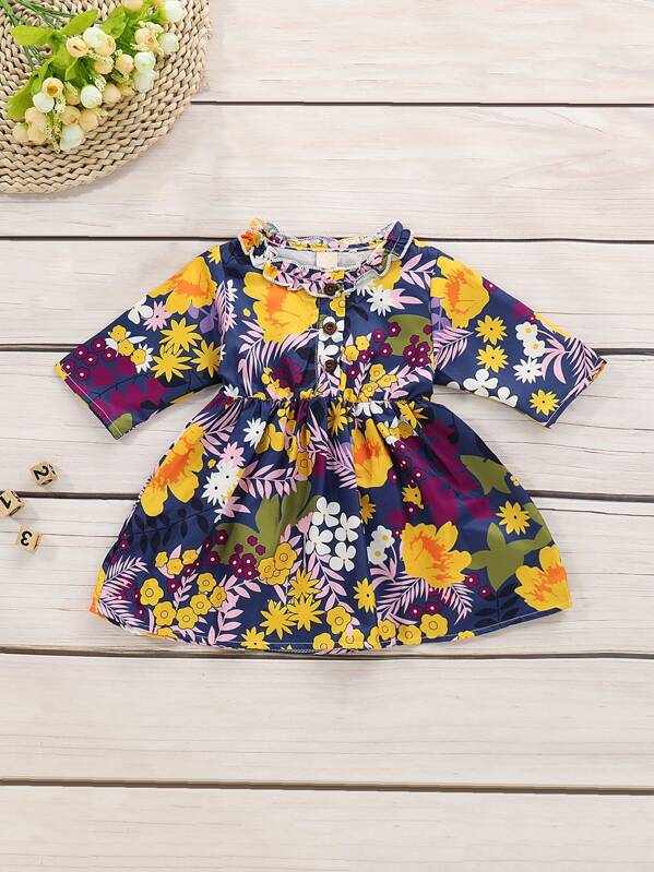 Toddler Girls Floral Print Button Front A-line Dress, null