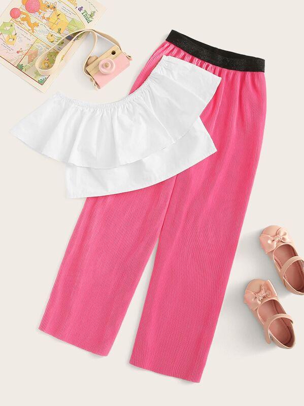 Girls Ruffle Bardot Crop Top & Wide Leg Pants Set, null