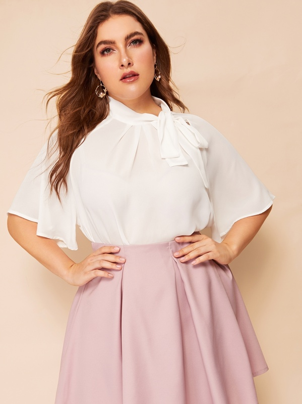Plus Flutter Sleeve Tied Pleated Neck Top