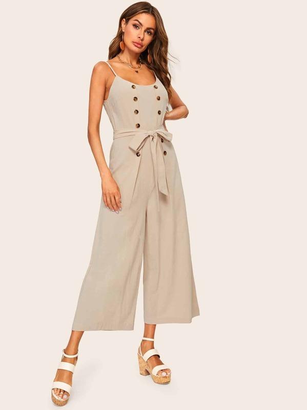 Double Breasted Belted Wide Leg Cami Jumpsuit, Andy