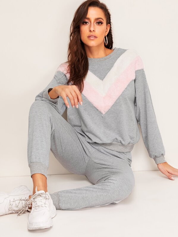 Faux Fur Insert Pullover & Striped Sweatpants Set