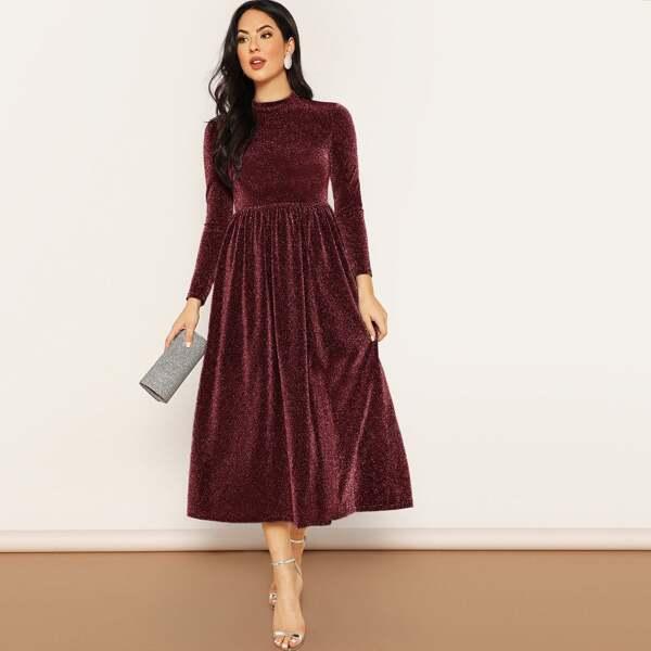 Zip Back Mock-neck Glitter Flare Dress, Burgundy