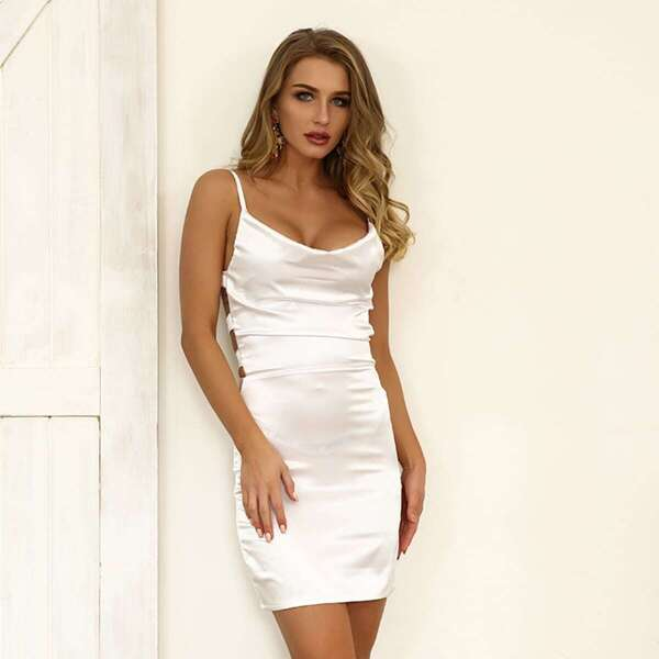 Joyfunear Lace-up Back Satin Cami Bodycon Dress, White