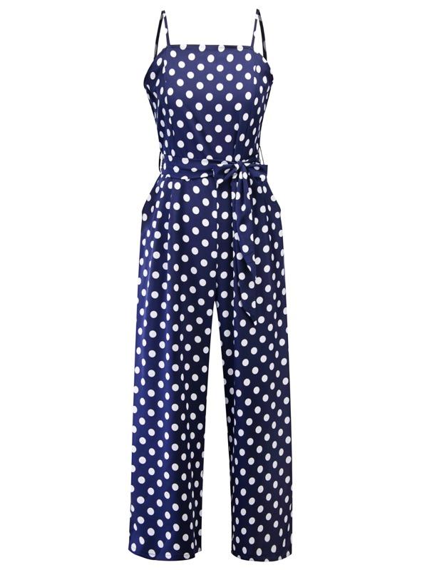70s Self Tie Polka Dot Cami Jumpsuit, Blue