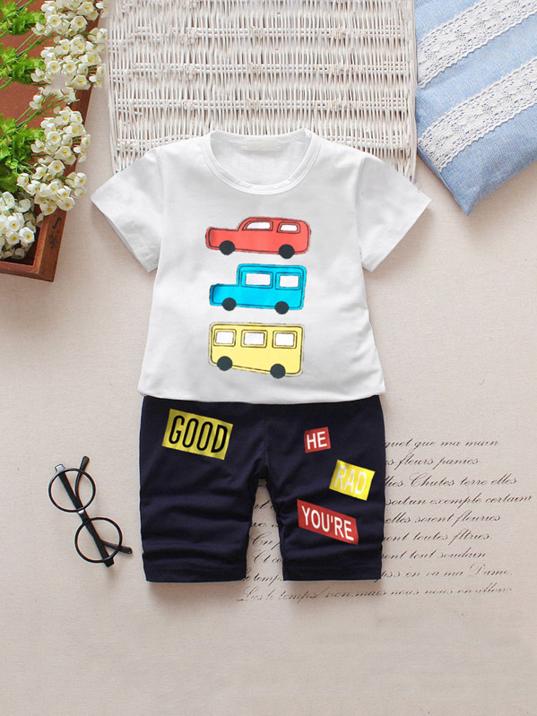 Toddler Boys Car Print Tee With Letter Print Pants
