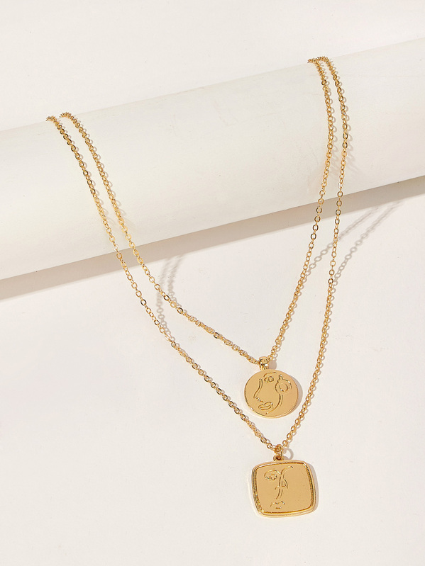 Engraved Round & Square Pendant Chain Necklace 1pc, null