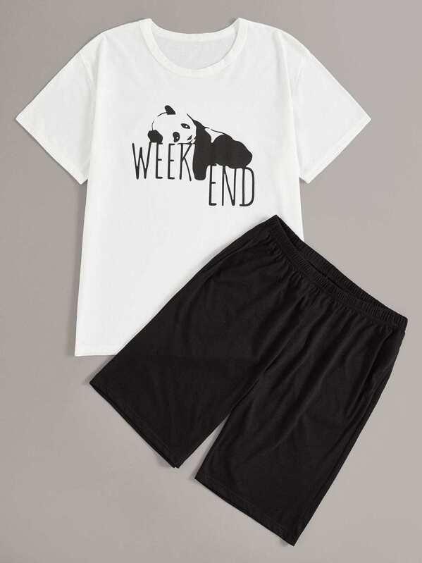 Men Panda & Letter Print Pajama Set