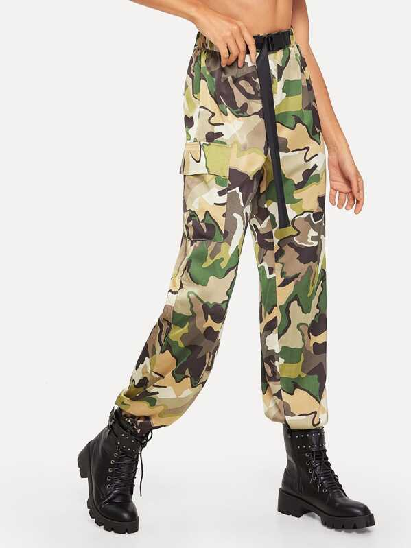 Buckle Belted Pocket Patched Utility Camo Pants