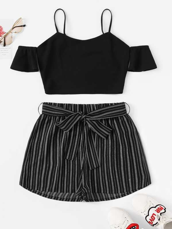 Cold Shoulder Crop Top & Belted Pinstripe Shorts Set