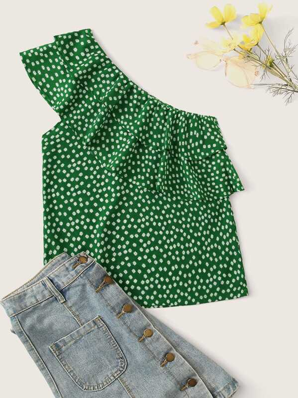 One Shoulder Tiered Flounce Ditsy Floral Top, Green