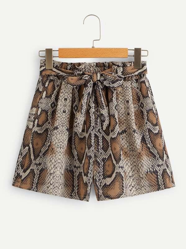 Snakeskin Print Self Tie Shorts
