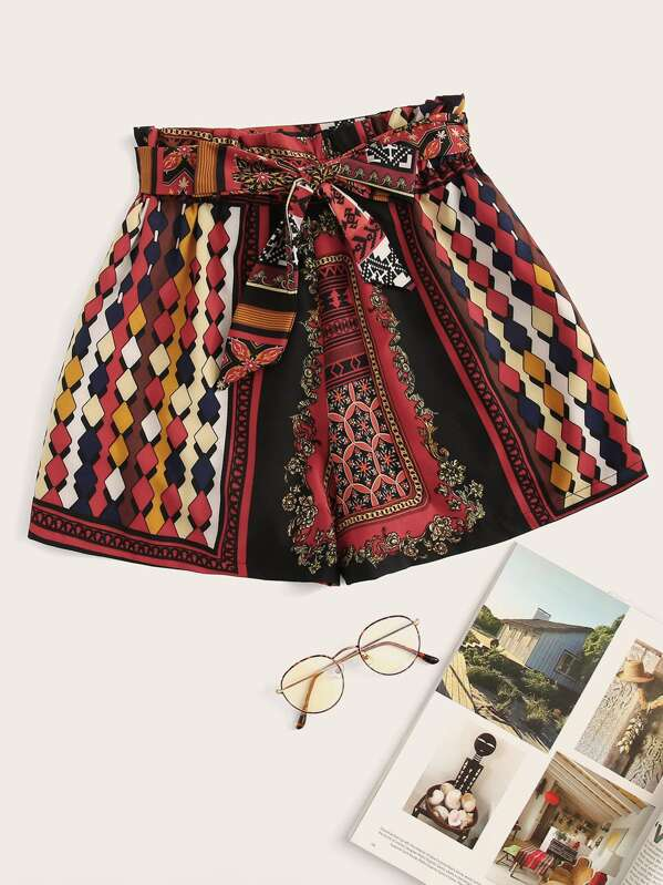Geo Print Belted Shorts, Multicolor
