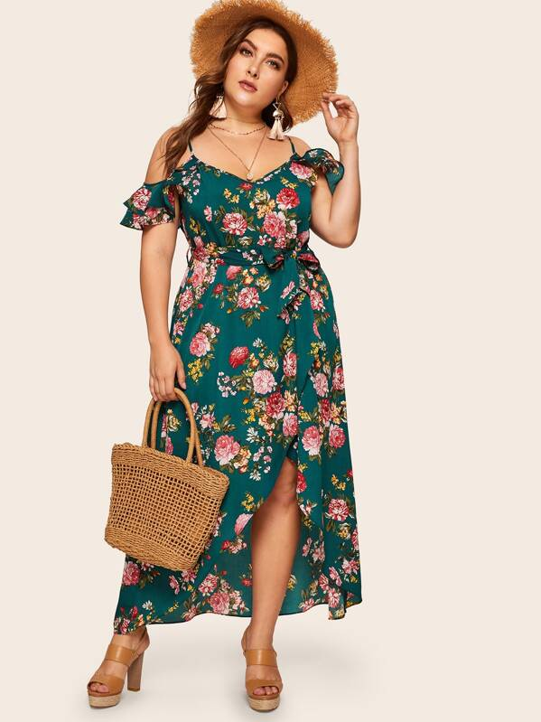 Plus Tulip Hem Ruffle Trim Floral Print Dress, Multicolor, Franziska