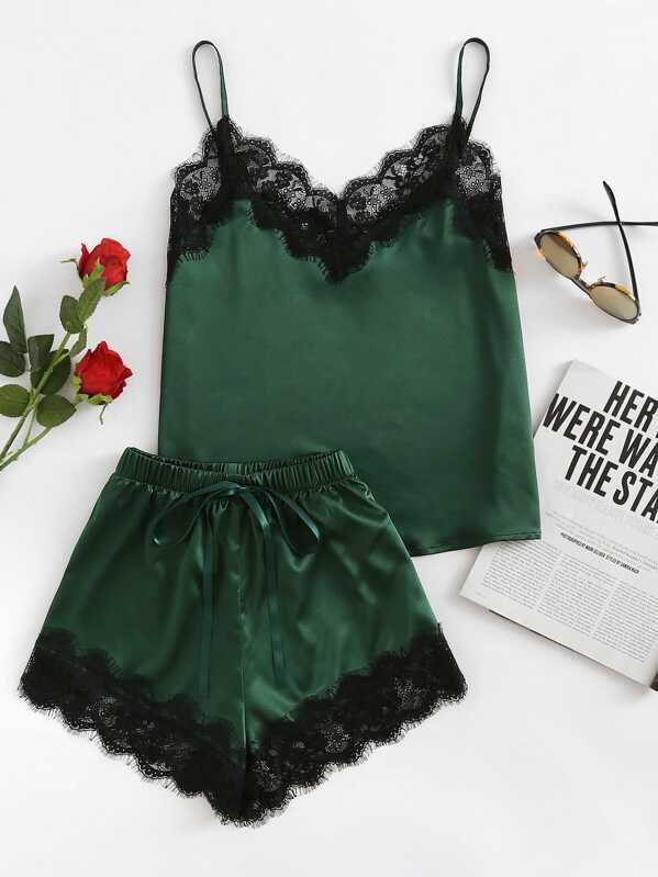 Lace Trim Satin Cami And Shorts Pajama Set, null