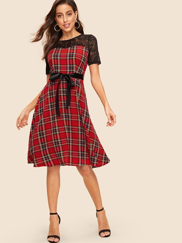 Lace Yoke Self Tie Tartan Flared Dress, Red, Mary P.