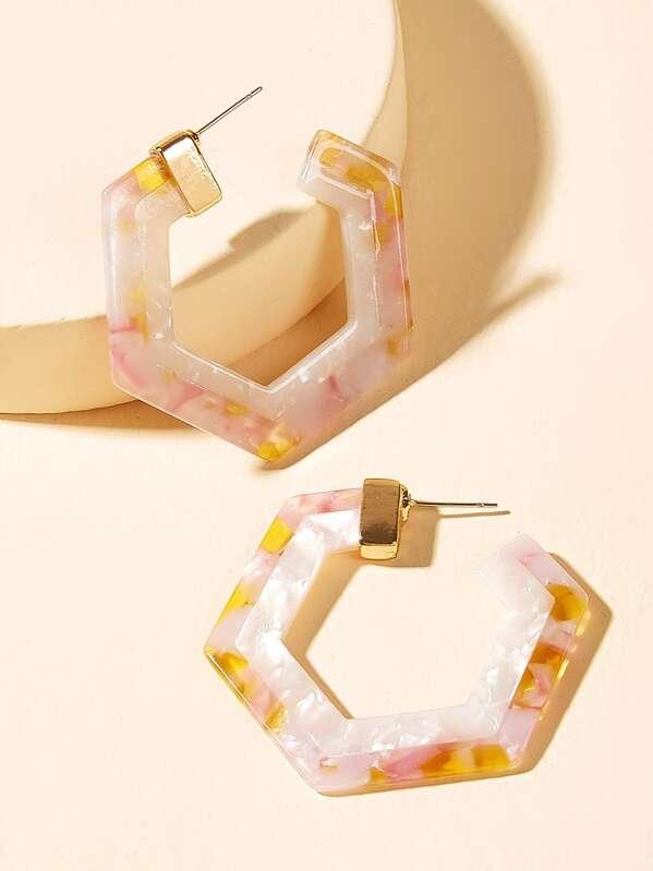 Marble Pattern Open Hexagon Hoop Earrings 1pair, null