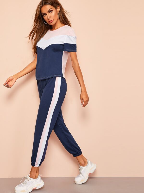 Chevron Top and Contrast Sideseam Sweatpants Set