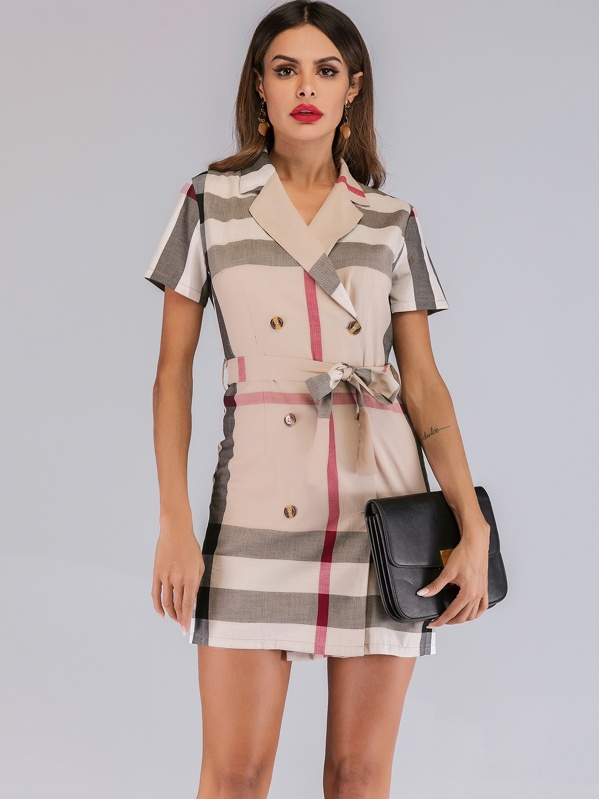 Madras Plaid Double Breasted Belted Dress, Andy