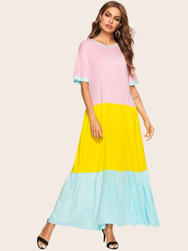 Color Block Longline Dress, Multicolor