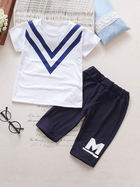 Toddler Boys Chevron & Letter Print Tee With Pants