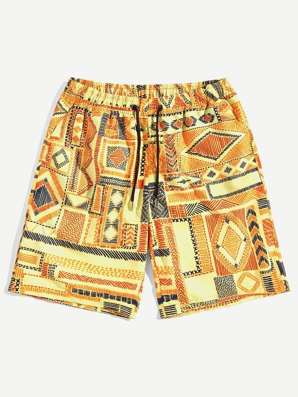 Men Tribal Print Drawstring Shorts, null