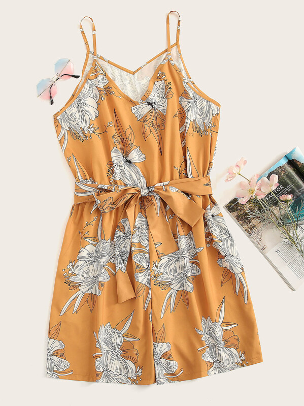 Plus Floral Print Self Tie Romper