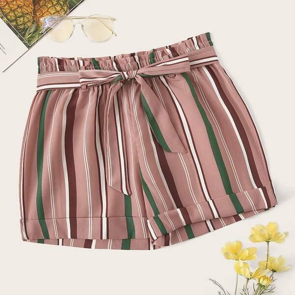 Plus Striped Self Tie Shorts