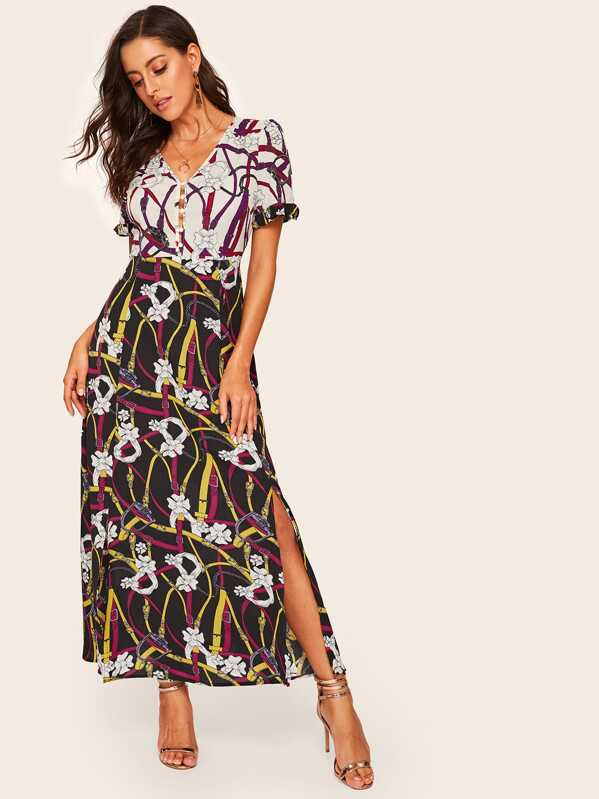 Floral Print Split Hem V-Neck Dress, Multicolor, Mary P.