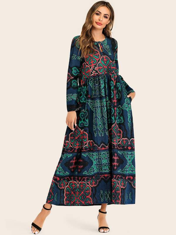 Paisley Print Pocket Hidden Dress, Blue