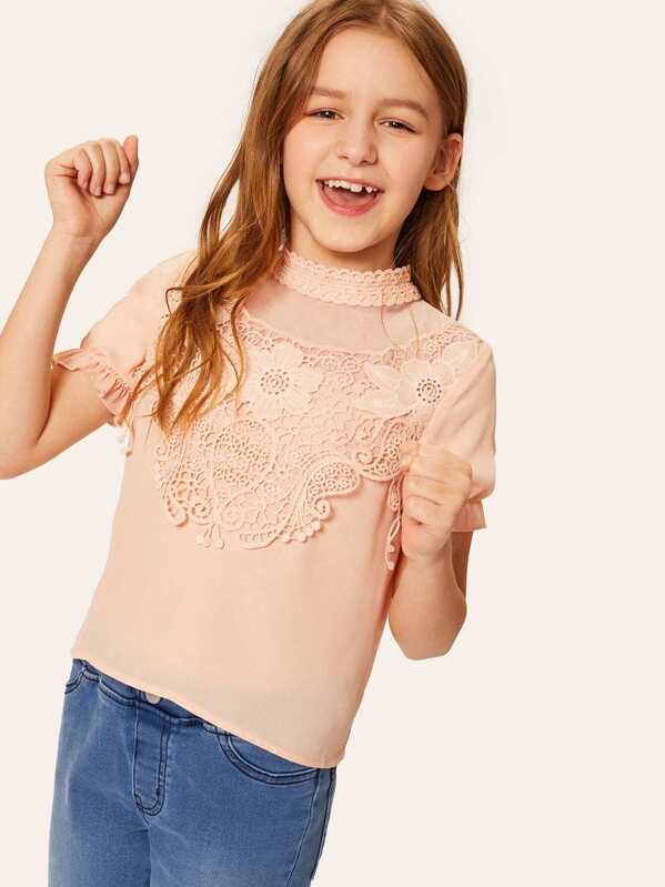 Girls Lace Mock-neck Solid Top