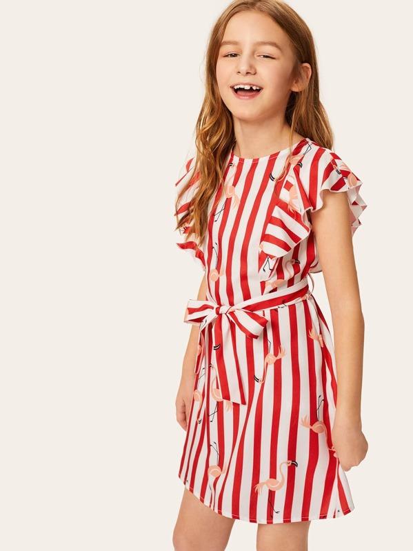 Girls Ruffle Armhole Striped Flamingo Print Belted Dress