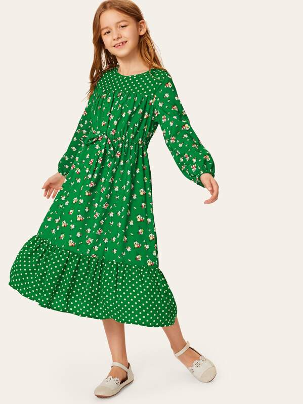 Girls Drawstring Waist Lantern Sleeve Dress
