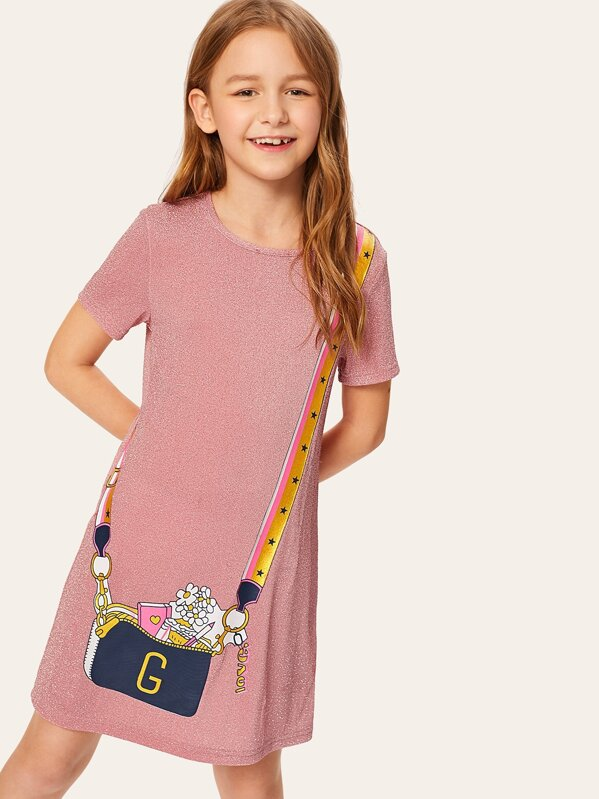 Girls Solid Glitter Dress