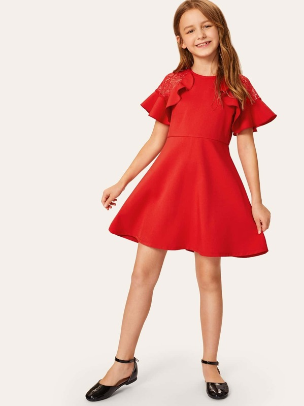 Girls Ruffle Trim Lace Insert Dress