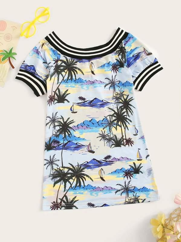 Girls Striped Trim Landscape Print Tunic Dress