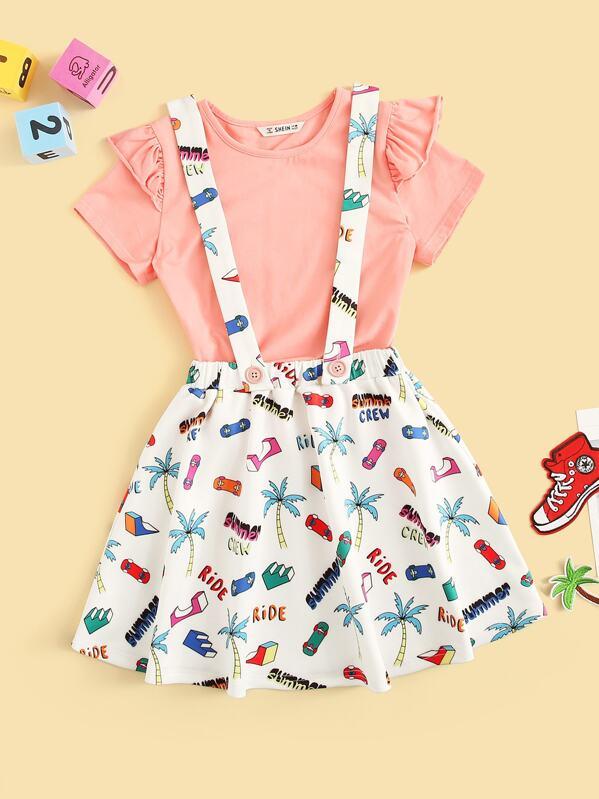 Топ с оборками и юбка-сарафан с графическим принтом для девочек